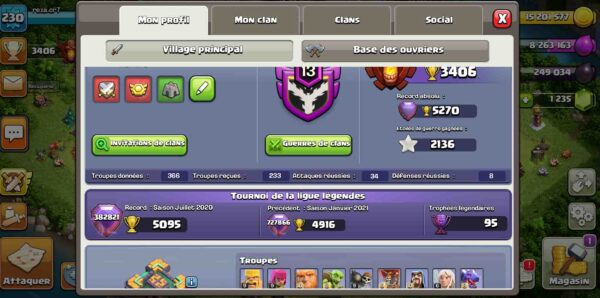 Achat compte clash of clans