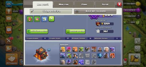 Achat compte clash of clans HDV10