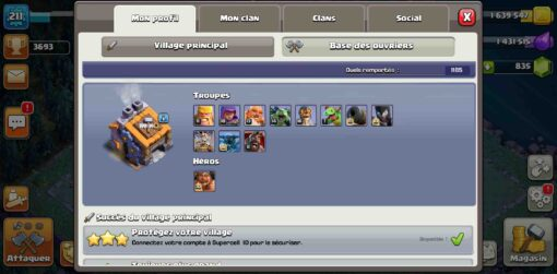 Achat clash of clans account